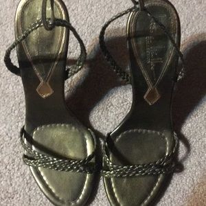 Nicole Miller Green Lace Up Sandals